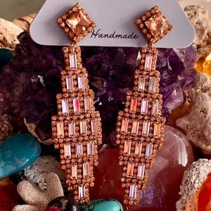 NWT Deepa Gurnani Rose Gold Crystal Chandeliers